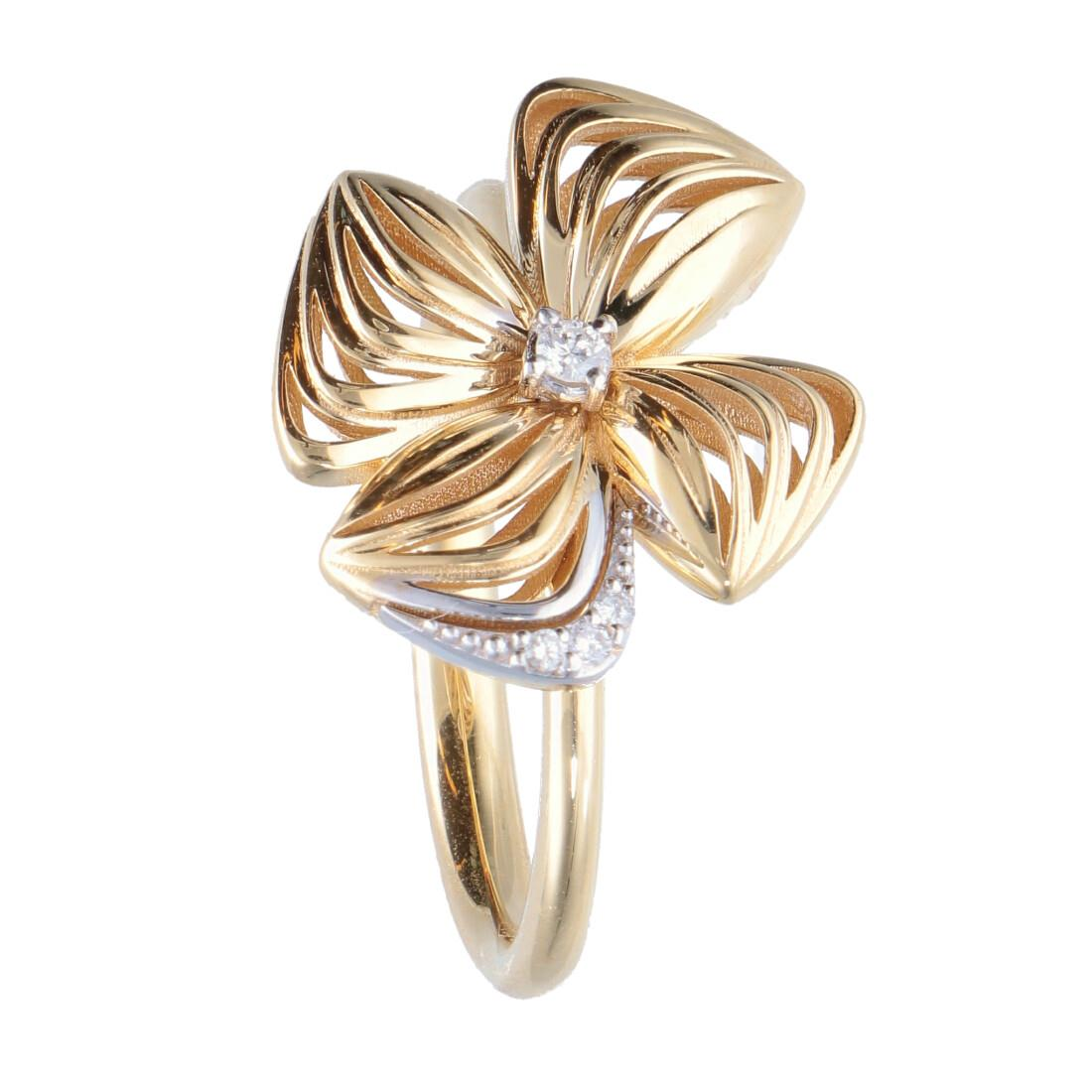 Anello design fiore con diamanti - ALFIERI & ST. JOHN