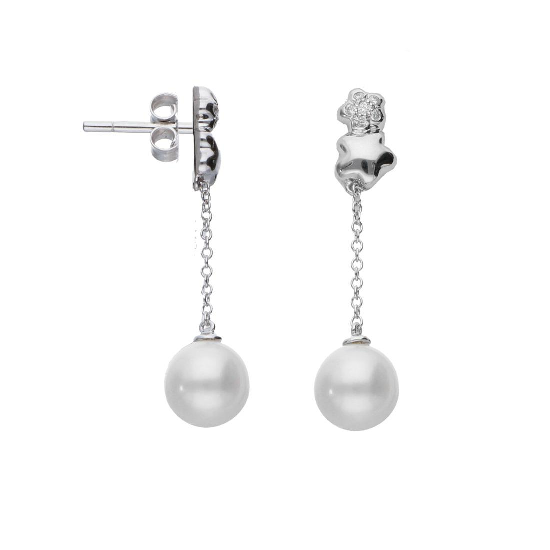 Orecchini in or bianco con perla - BLISS