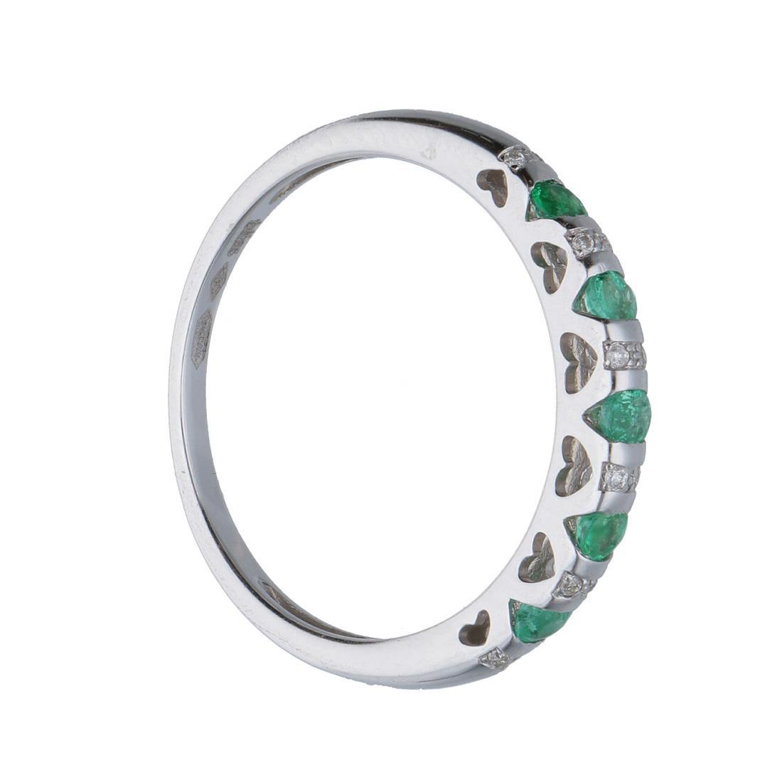 Anello in oro bianco con diamanti ct 0.04 e smeraldi mis 15 - BLISS