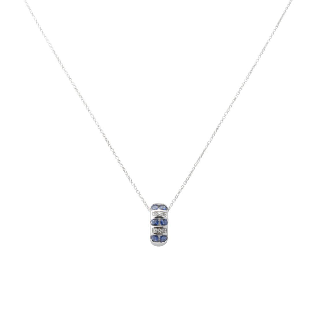 Collana in oro bianco con diamanti ct 0.02 e zaffiri ct 0.45 - BLISS