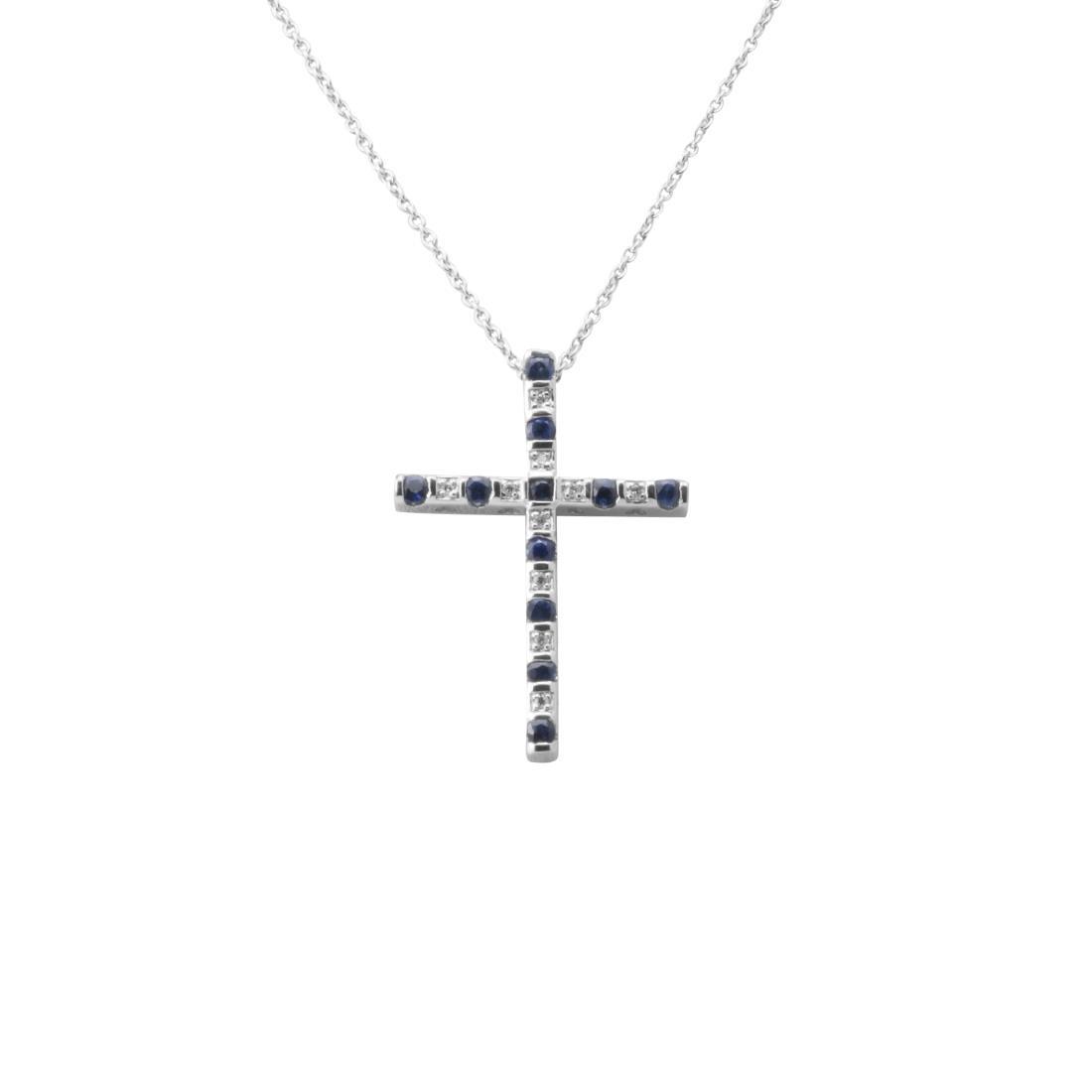 Collana croce in oro bianco con diamanti ct 0.03 e zaffiri ct 0.42 - BLISS
