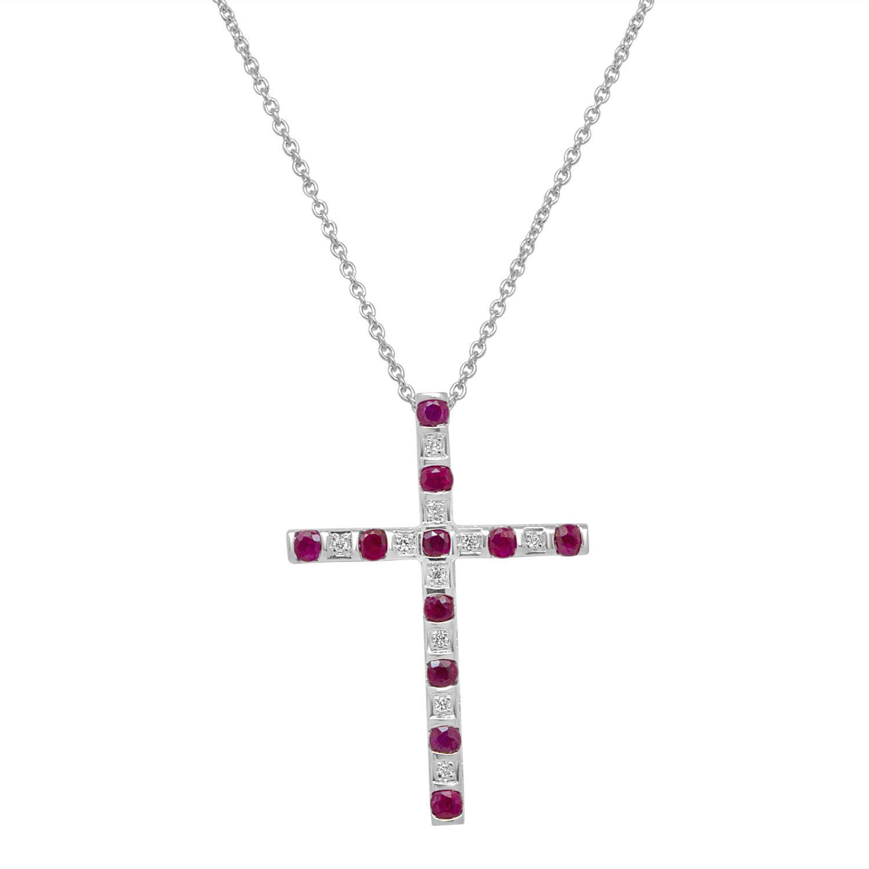 Collana croce in oro bianco con rubini - BLISS