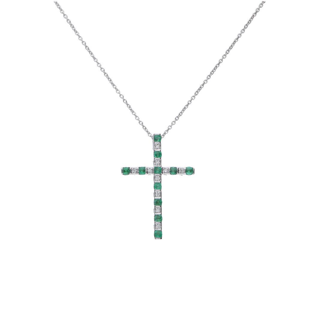 Collana in oro bianco con diamanti ct 0.03 e smeraldi - BLISS