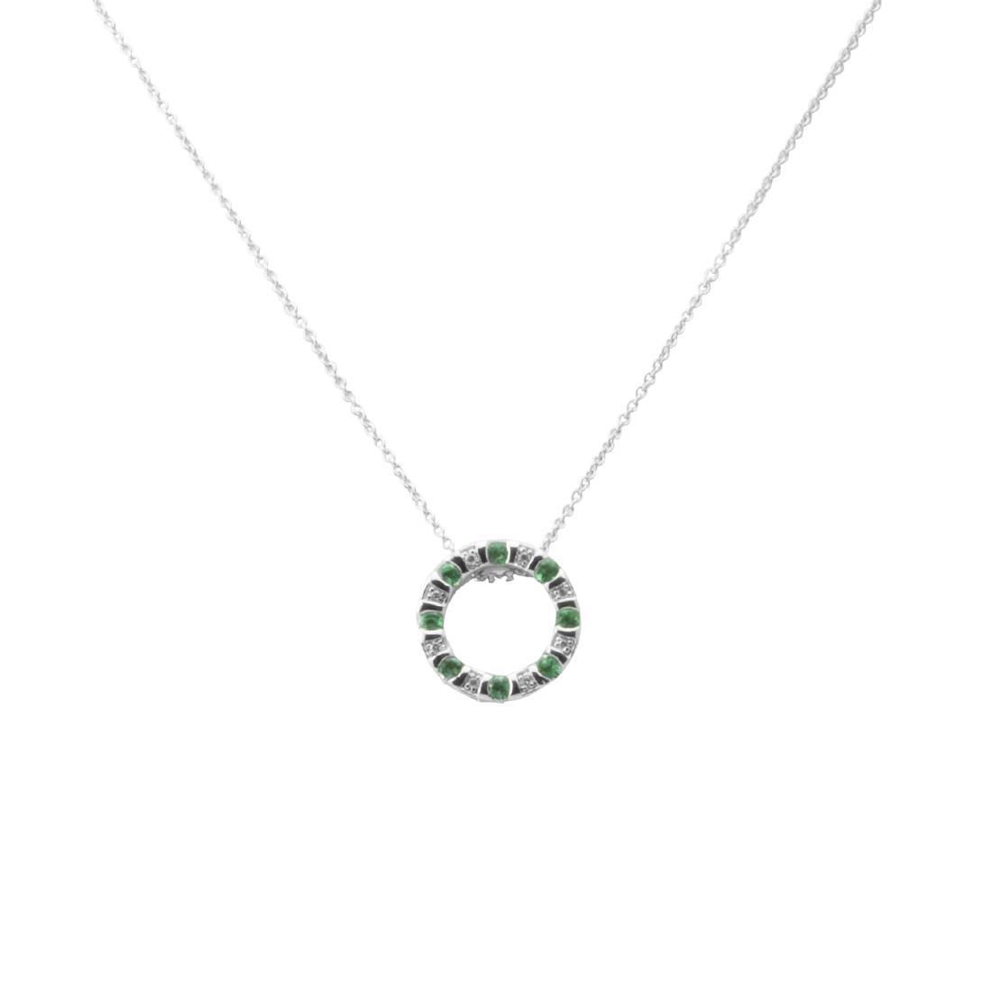 Collana in oro bianco con diamanti ct 0.024 e smeraldi ct 0.24 - BLISS