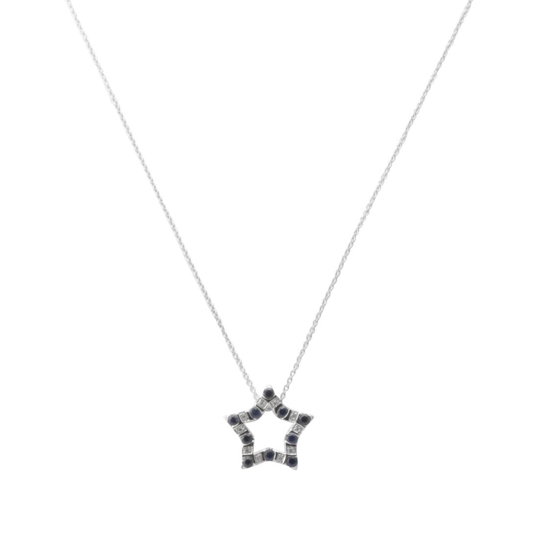 Collana con pendente stella in oro bianco con diamanti ct 0.03 e zaffiri ct 0.38,  - BLISS