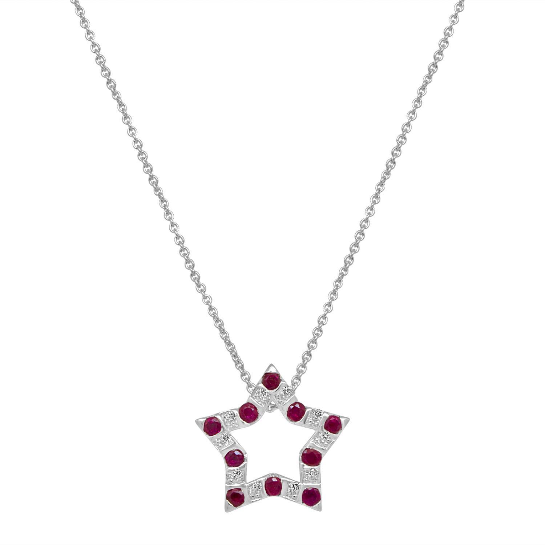 Collier in oro bianco con diamanti e rubini - BLISS