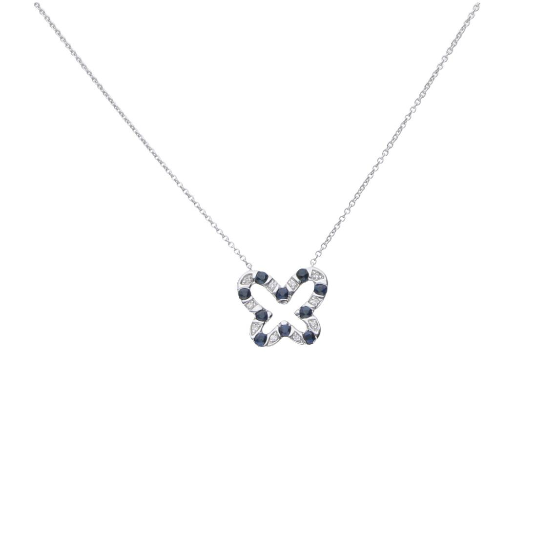 White gold necklace with pendant, sapphires and diamonds ct 0.03  - BLISS