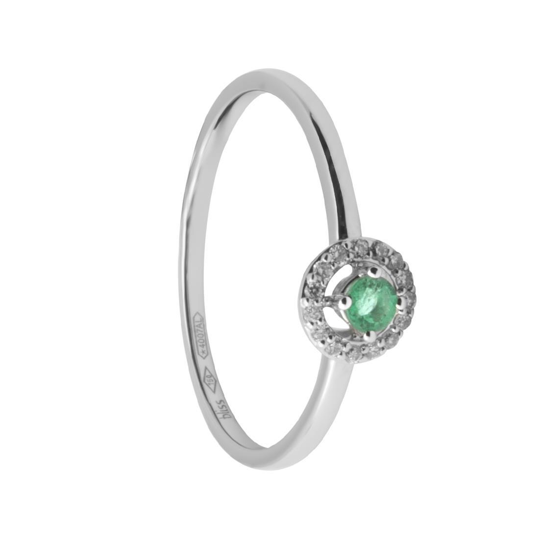 Anello in oro bianco con diamanti e smeraldo - BLISS
