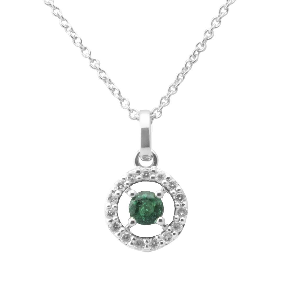Collana in oro bianco con pendente in diamanti e smeraldo - BLISS