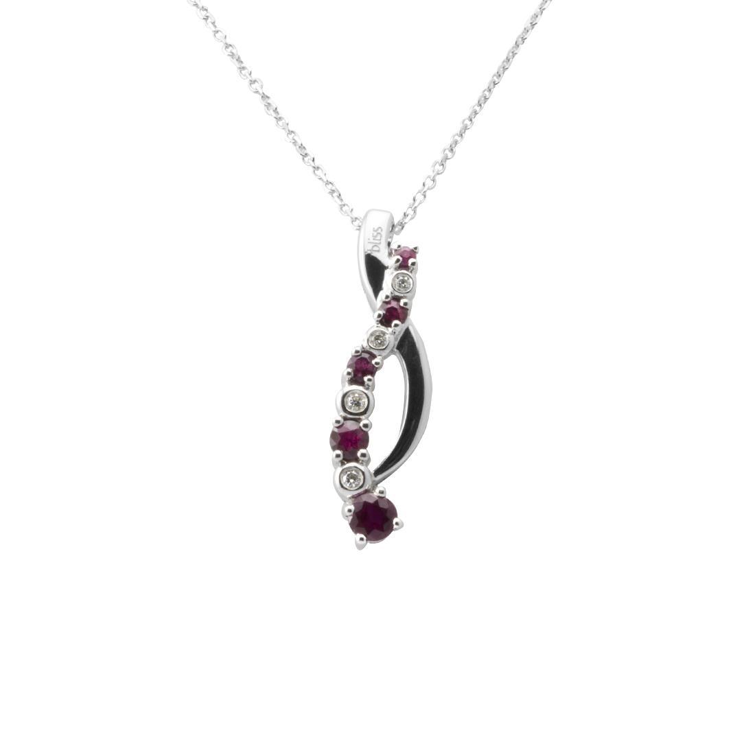 Collana in oro bianco con diamanti e rubini - BLISS