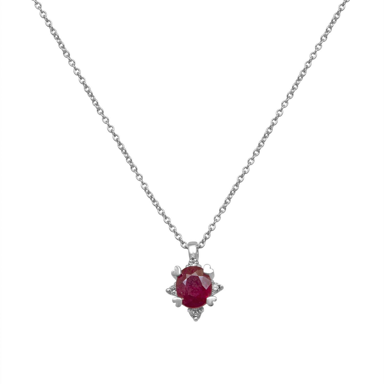 Collier in oro bianco con diamanti e rubino - BLISS