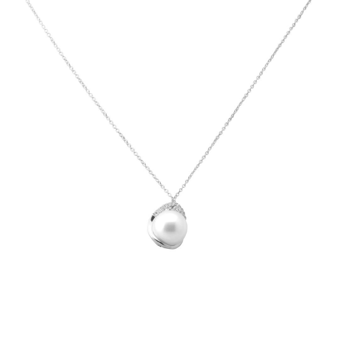 Collana in oro bianco con perla - BLISS