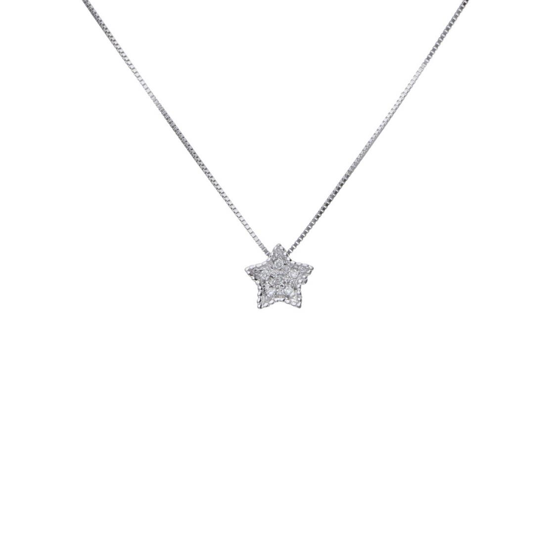 Collana in oro bianco con diamanti ct 0.018 - BLISS