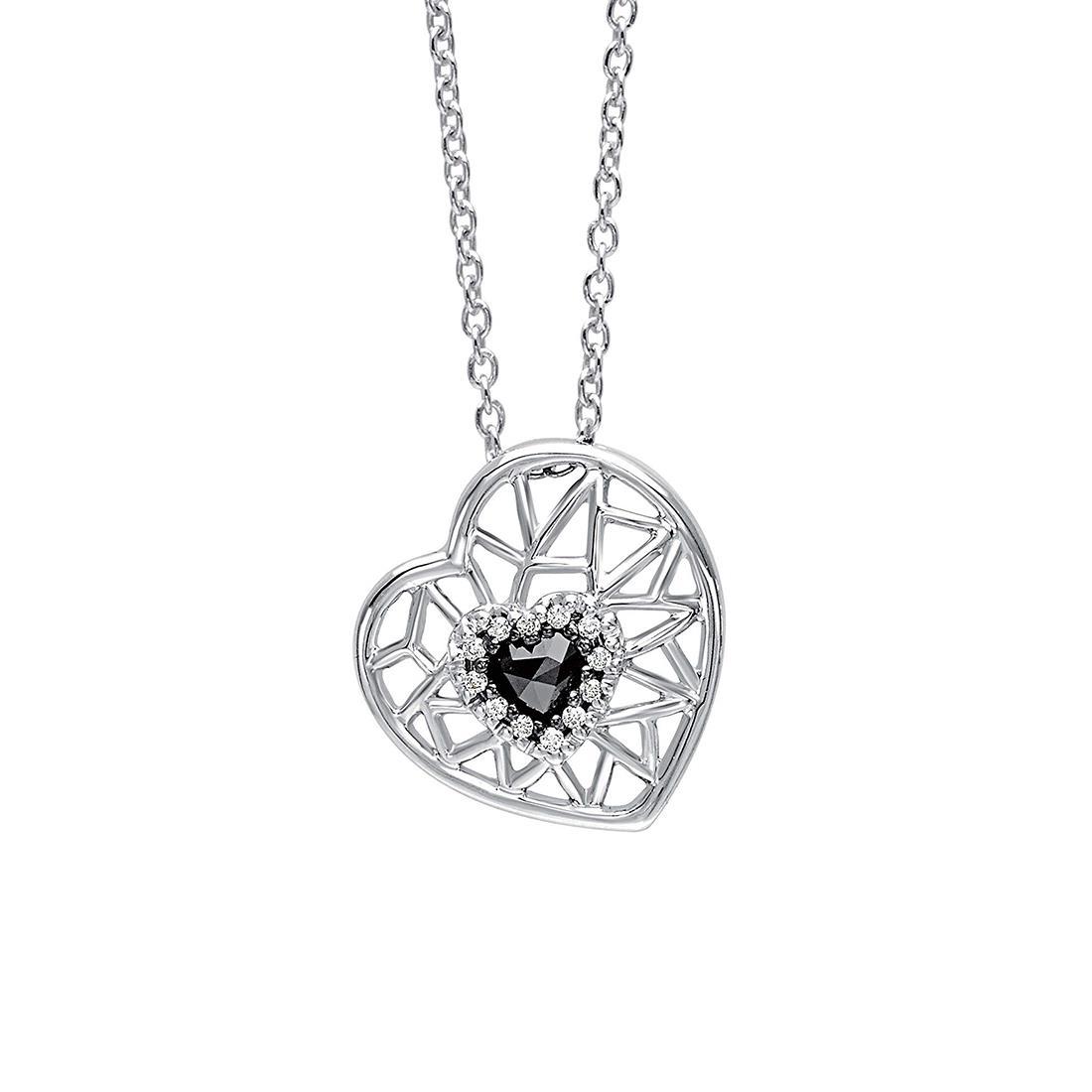 Collana in oro bianco con pendente cuore - BLISS