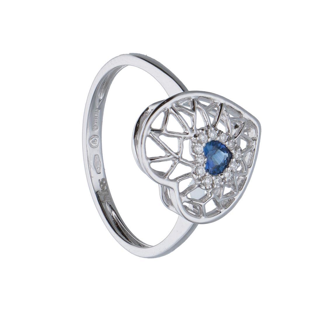 Anello design in oro bianco con diamanti ct 0.04 e zaffiri mis 13.5  - BLISS