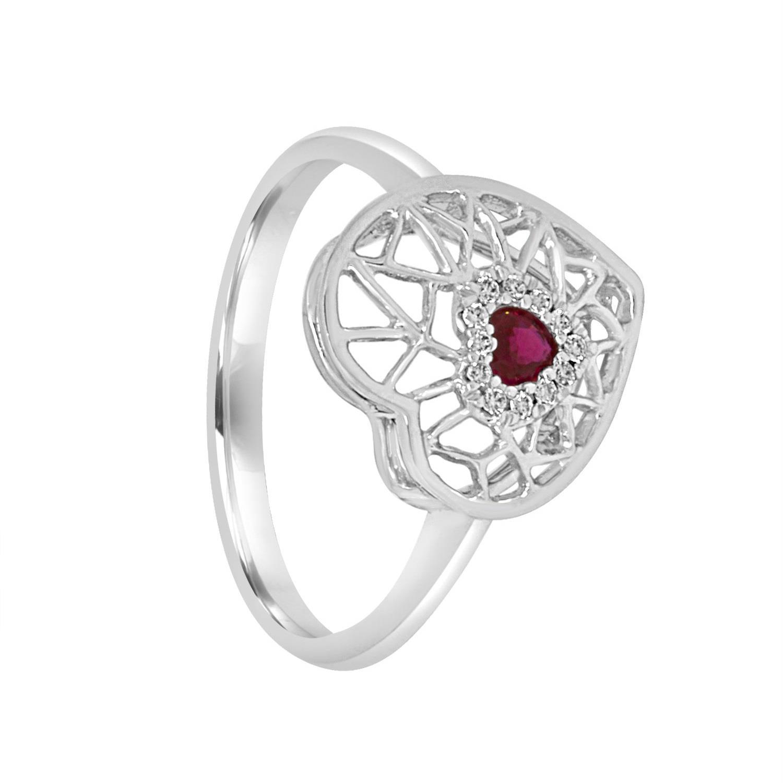 Anello in oro bianco con rubino e diamanti - BLISS