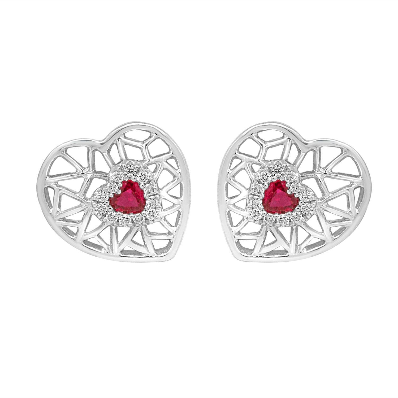 Orecchini cuore in oro bianco con diamanti e rubini - BLISS