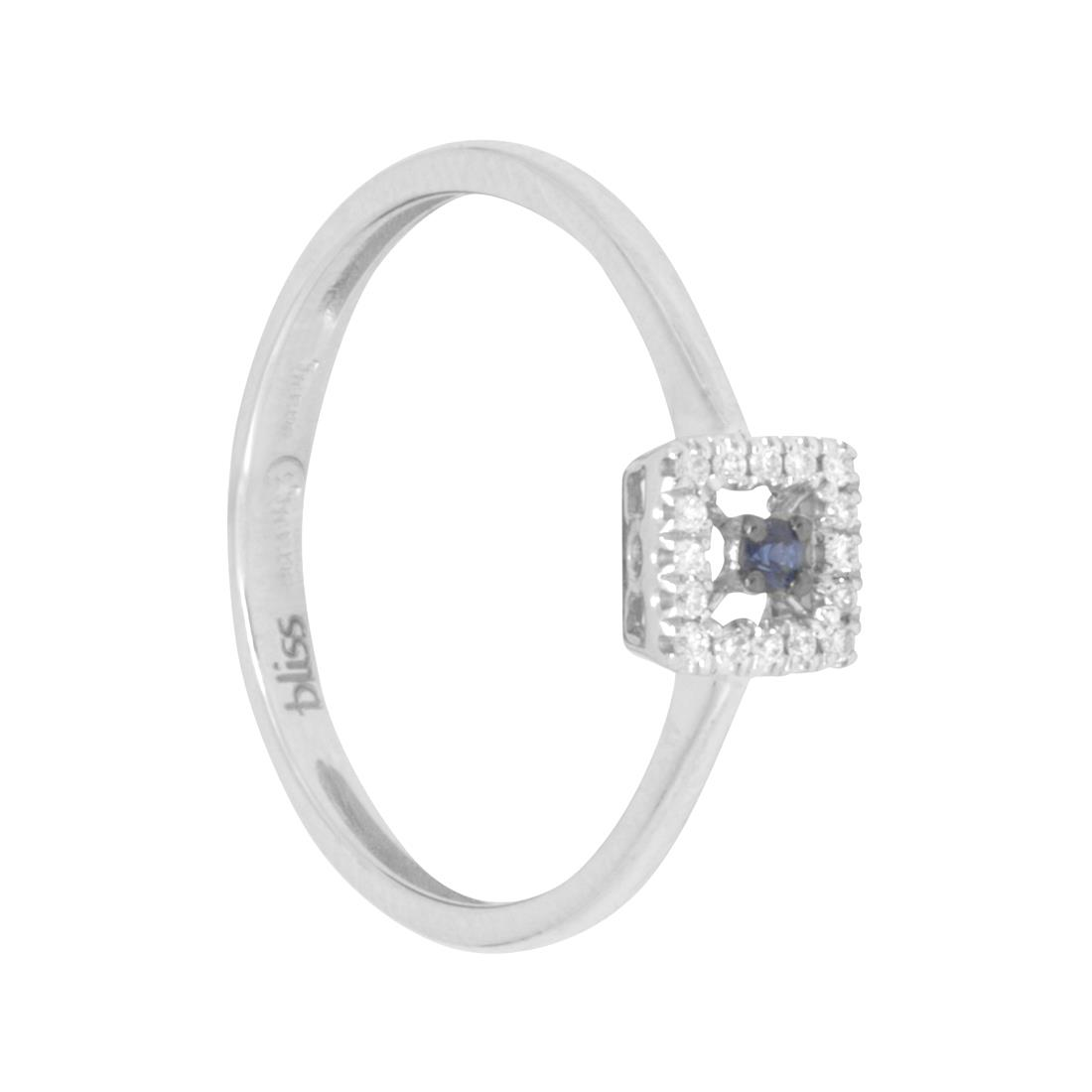 anello in oro bianco con diamanti e zaffiri  - BLISS