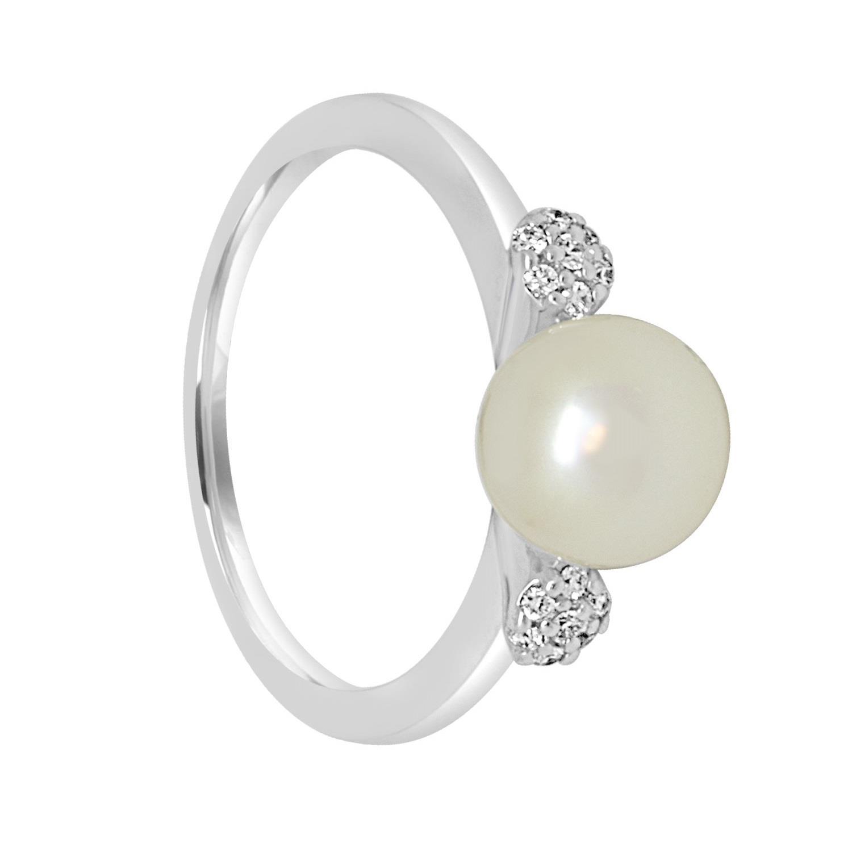 Anello in oro bianco con diamanti e perla - BLISS