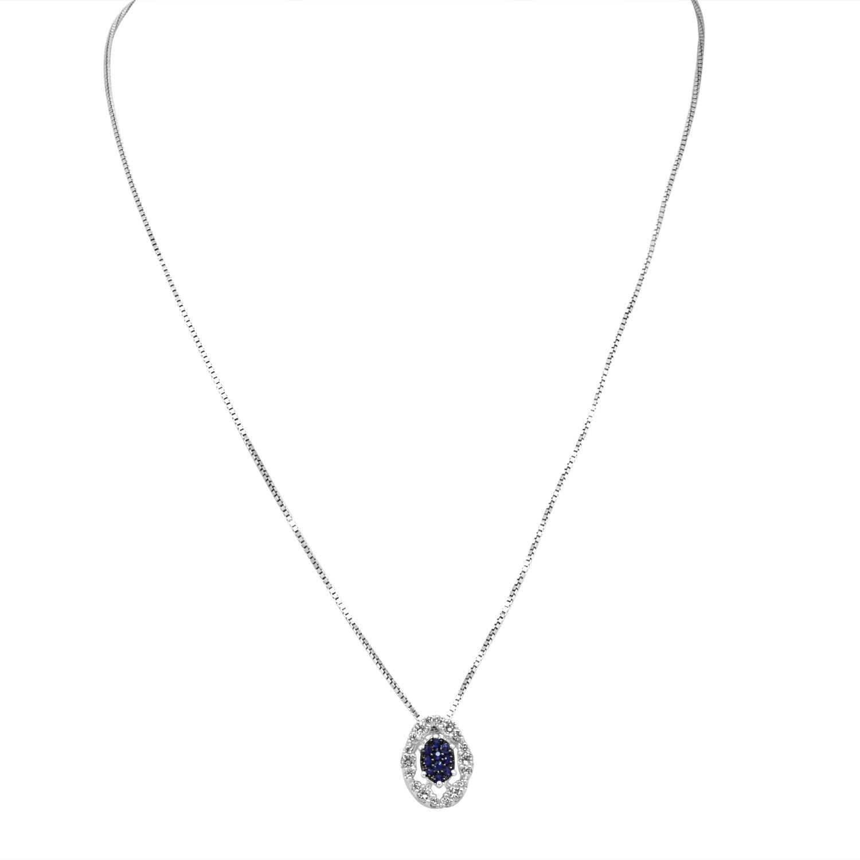 Collana in oro bianco con diamanti e zaffiro - BLISS