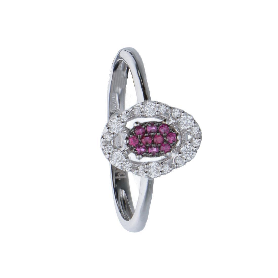 Anello in oro bianco con diamanti ct 0.18 e rubini mis 13 - BLISS