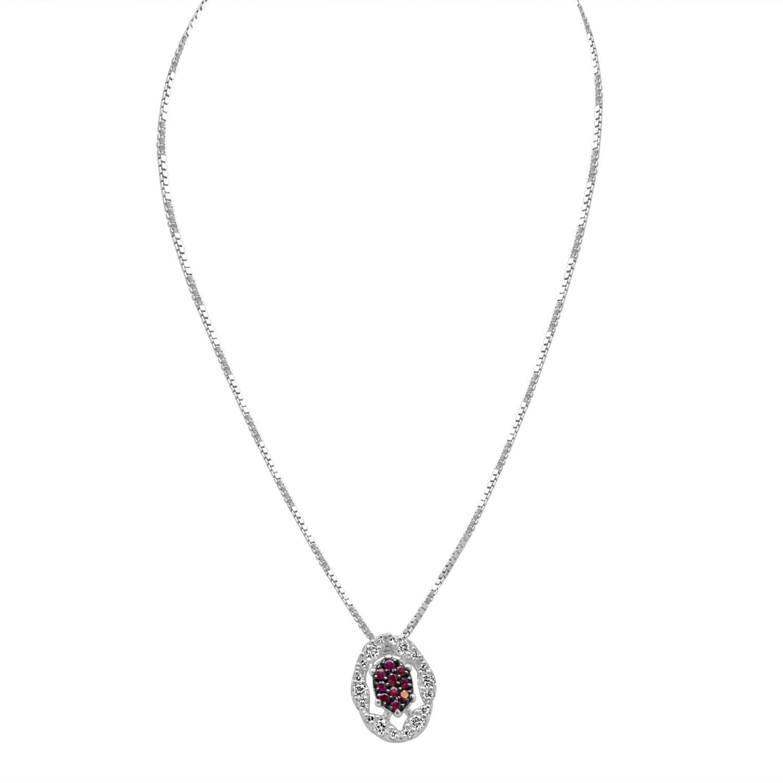 Collana in oro bianco con diamanti e rubino - BLISS