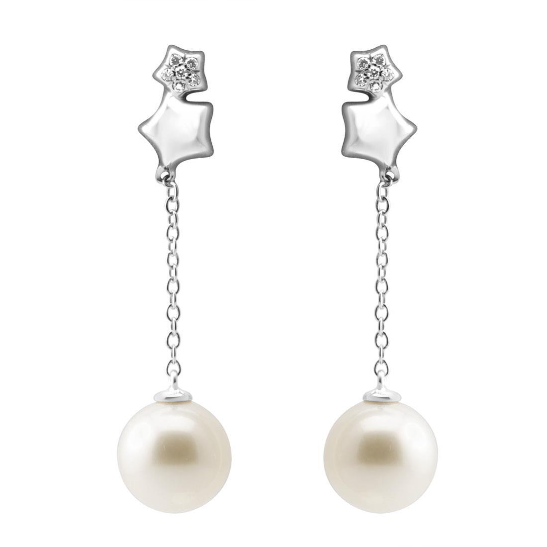 Orecchini pendenti con perle e diamanti - BLISS