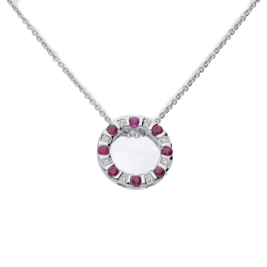 Collana con penente in oro bianco, diamanti ct 0.024 e rubini - BLISS