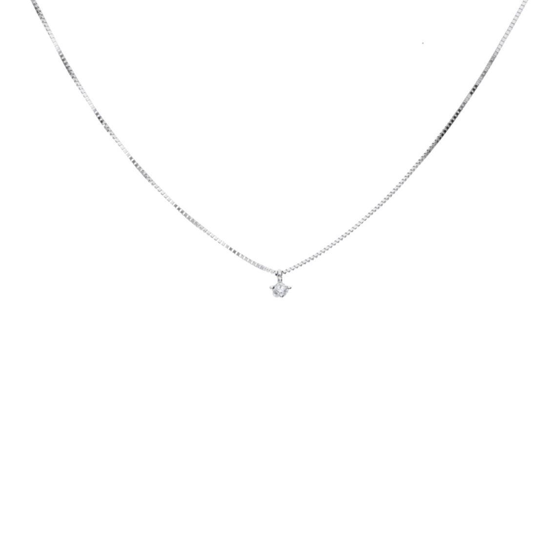 Collana punto luce in oro bianco e diamanti ct 0.04 - BLISS