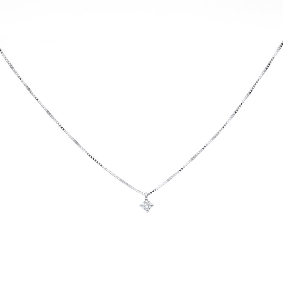 Collana in oro bianco con diamante ct. 0,06 - BLISS