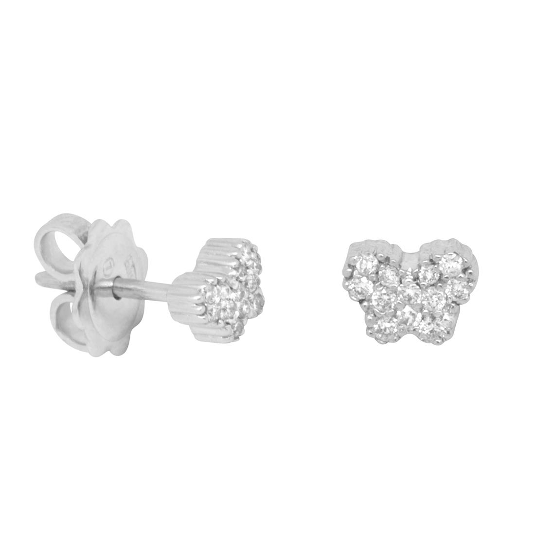 Orecchini farfalla in oro binco con diamanti - BLISS