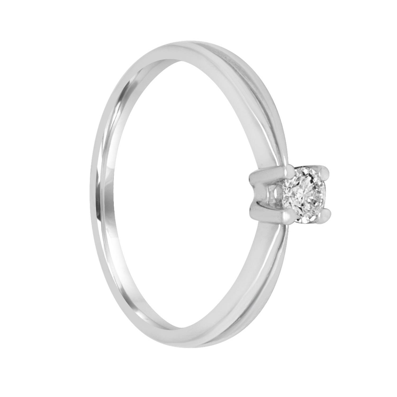 Anello solitario in oro bianco con diamante ct. 0,16 - BLISS