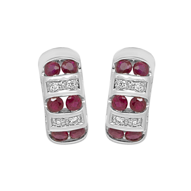 Orecchini in oro bianco con rubini - BLISS