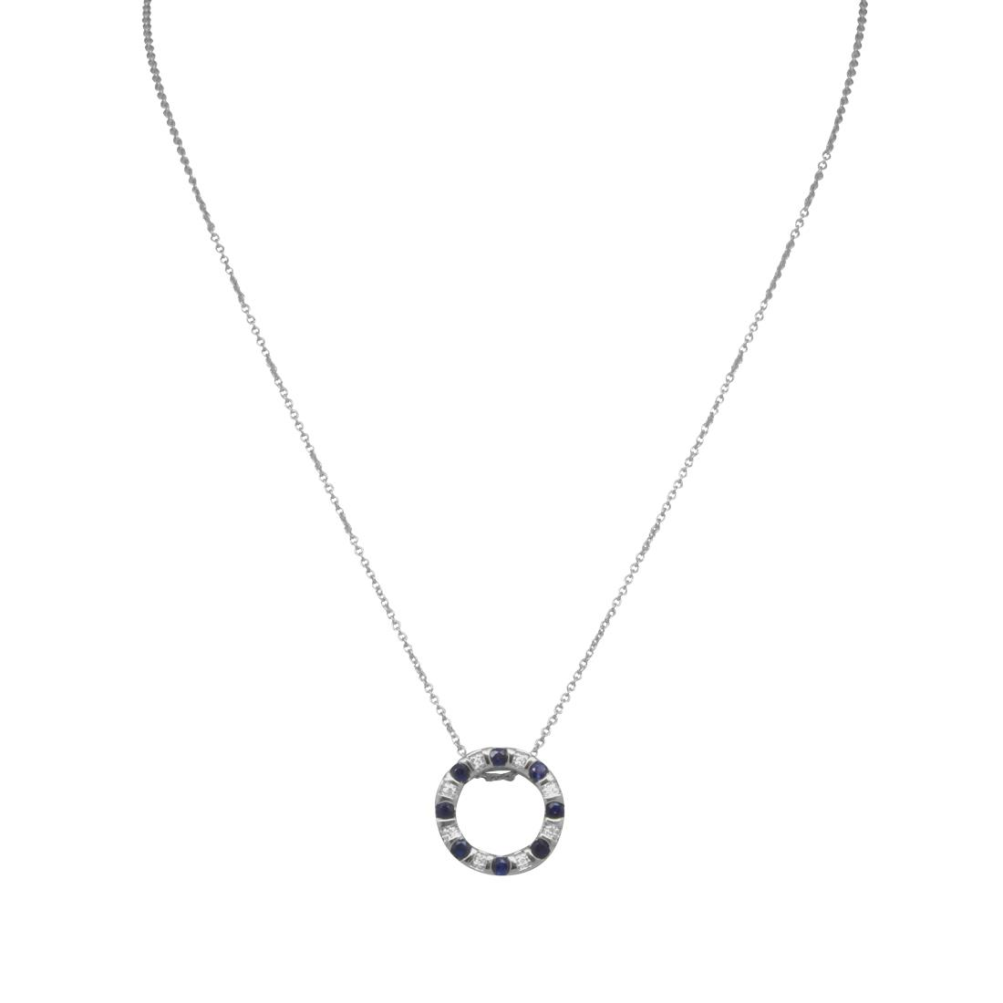 Collana in oro bianco con zaffiri e diamanti - BLISS