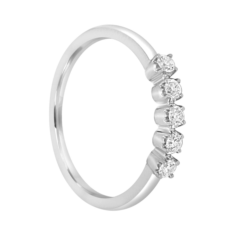 Anello in oro bianco con 5 diamanti ct 0,20, misura 14,5 - BLISS