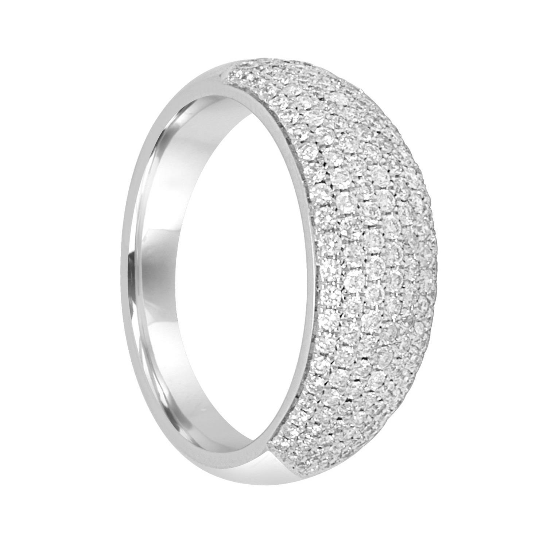 Anello veretta in oro bianco con diamanti ct 0.66, misura 13 - BLISS