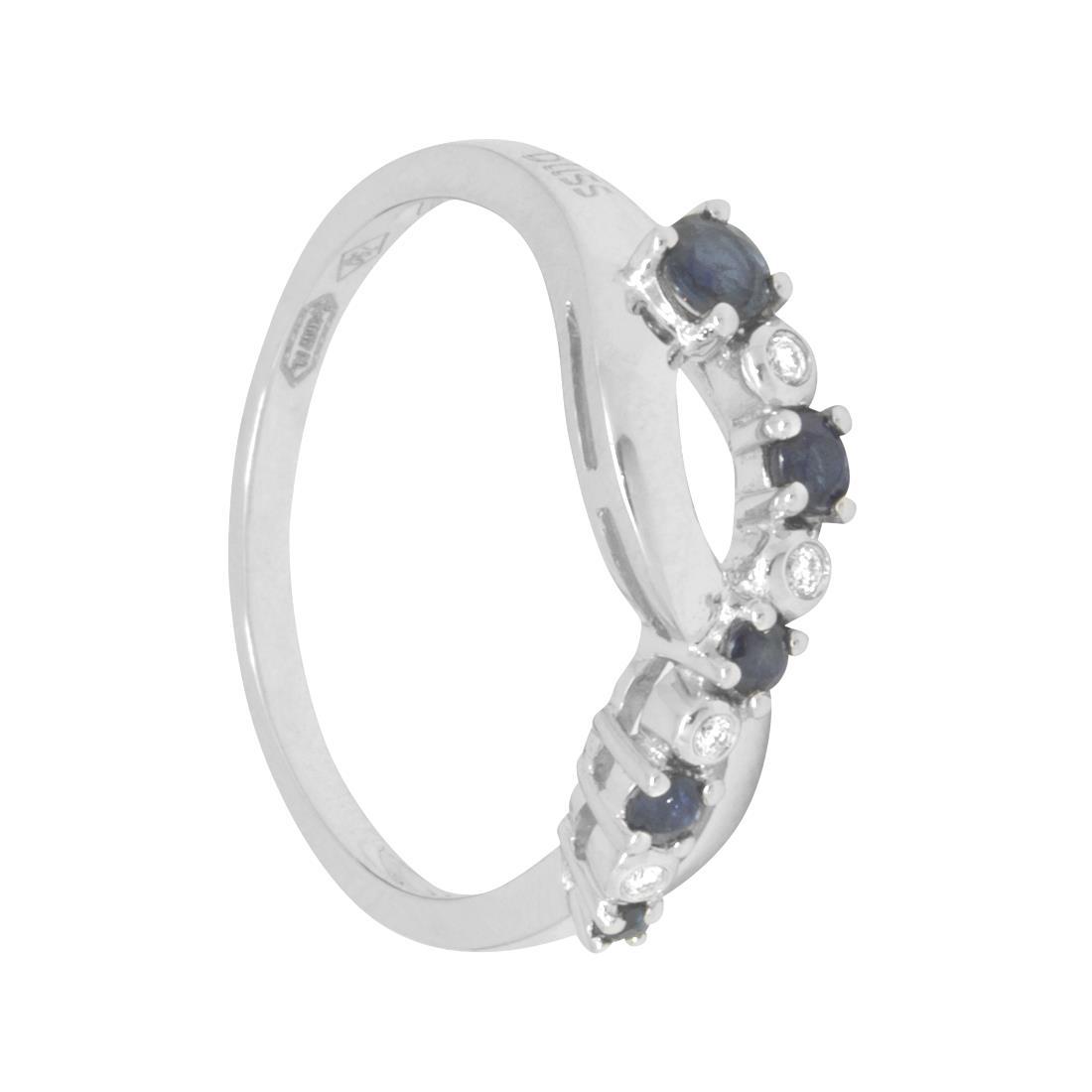 Anello in oro bianco con diamanti ct 0.03 e zaffiri ct 0.34, misura 14,5 - BLISS