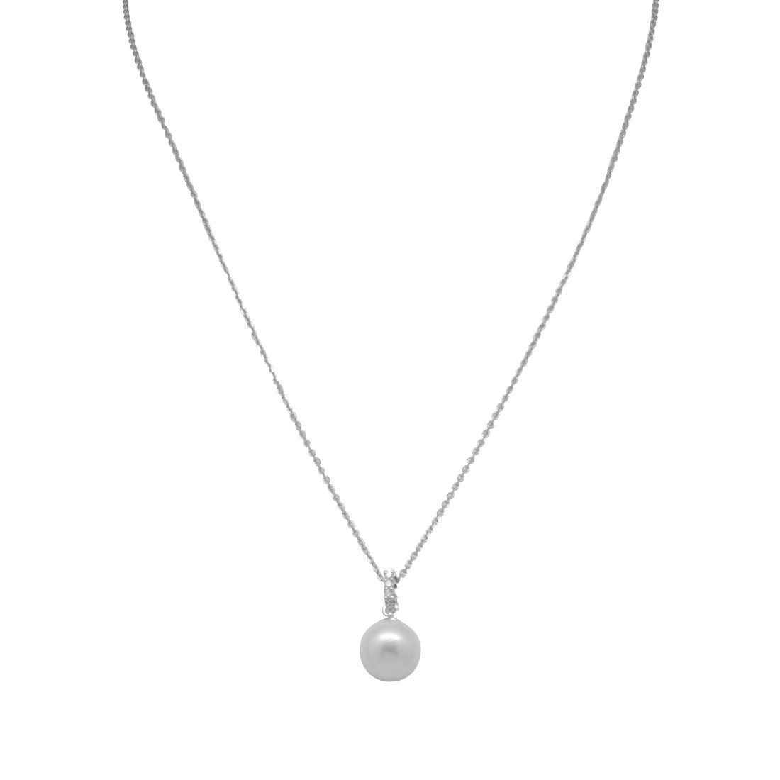 Collier in oro bianco con perla e diamanti  - BLISS