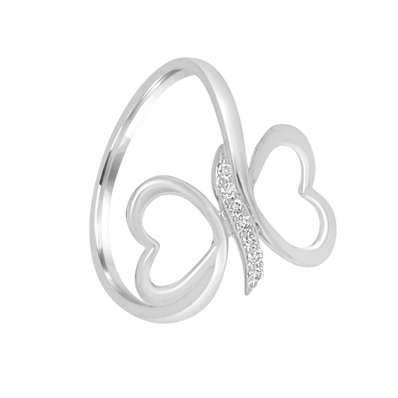 Anello in oro bianco con doppio cuore e diamanti ct 0.05, misura 13 - BLISS
