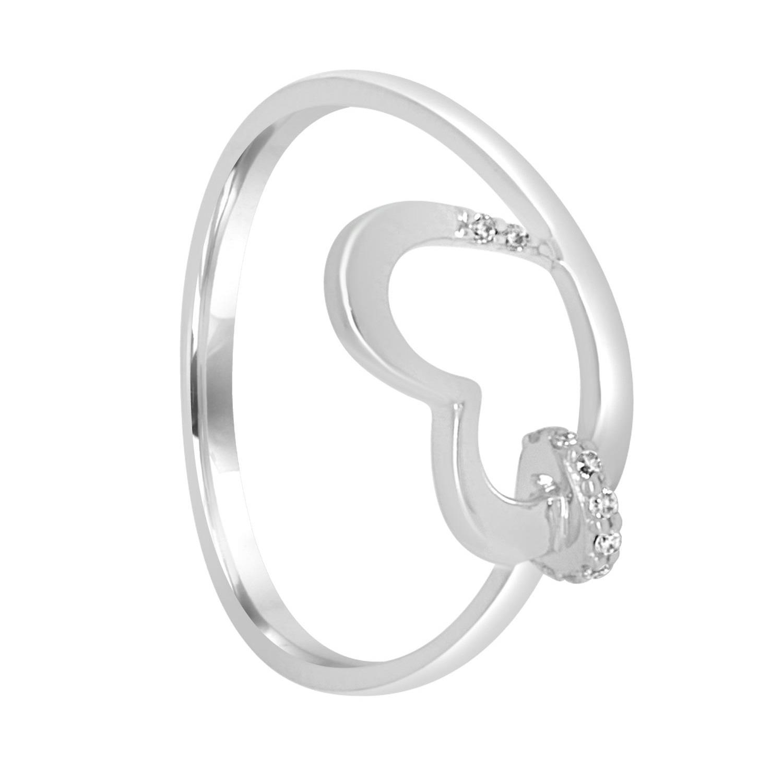Anello in oro bianco con cuore e diamanti ct 0.06, misura 13 - BLISS