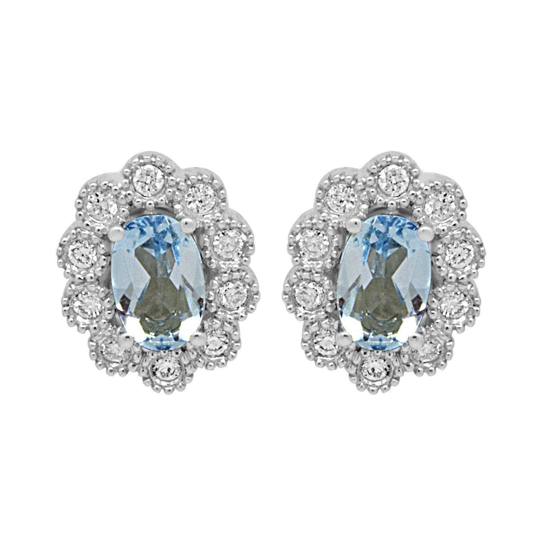 Orecchini in oro bianco con diamanti e acquamarina - BLISS