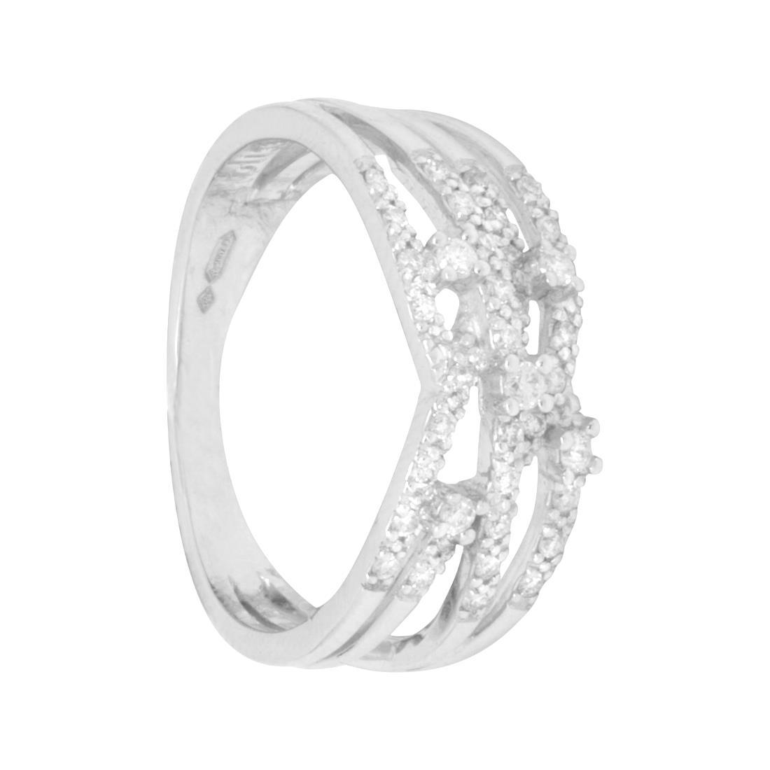 Anello in oro bianco  con diamanti ct 0.29, misura 14 - BLISS