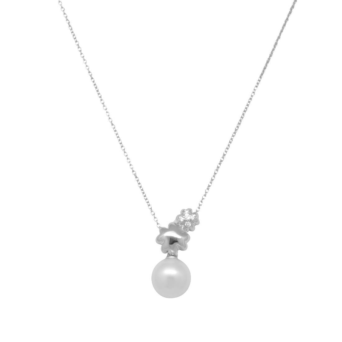 Collana in oro bianco con perla e diamante ct 0.03, lunghezza 42cm - BLISS