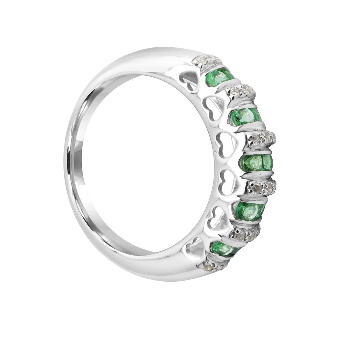 Anello in oro bianco con smeraldi e diamanti - BLISS