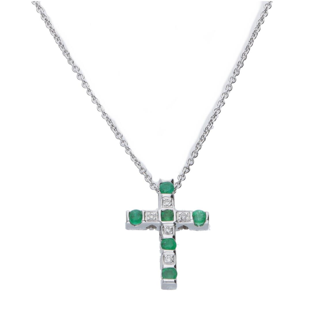 Collana croce con diamanti e smeraldi - BLISS