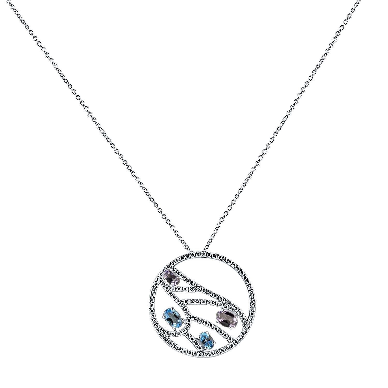 Collana in oro bianco con diamanti, topazio azzurro e ametiste - DAMIANI