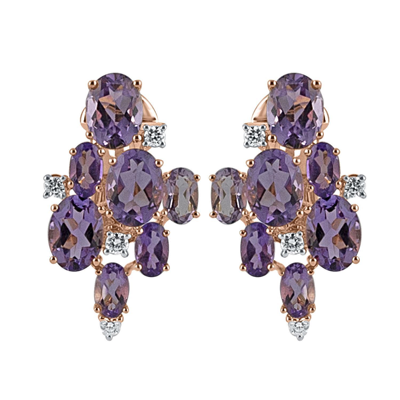 orecchinin oro rosa con ametiste e diamanti ct. 0,22 - DAMIANI