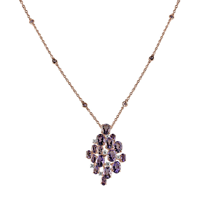 Collana in oro rosa con pendente con ametiste e diamanti ct. 0,25 - DAMIANI