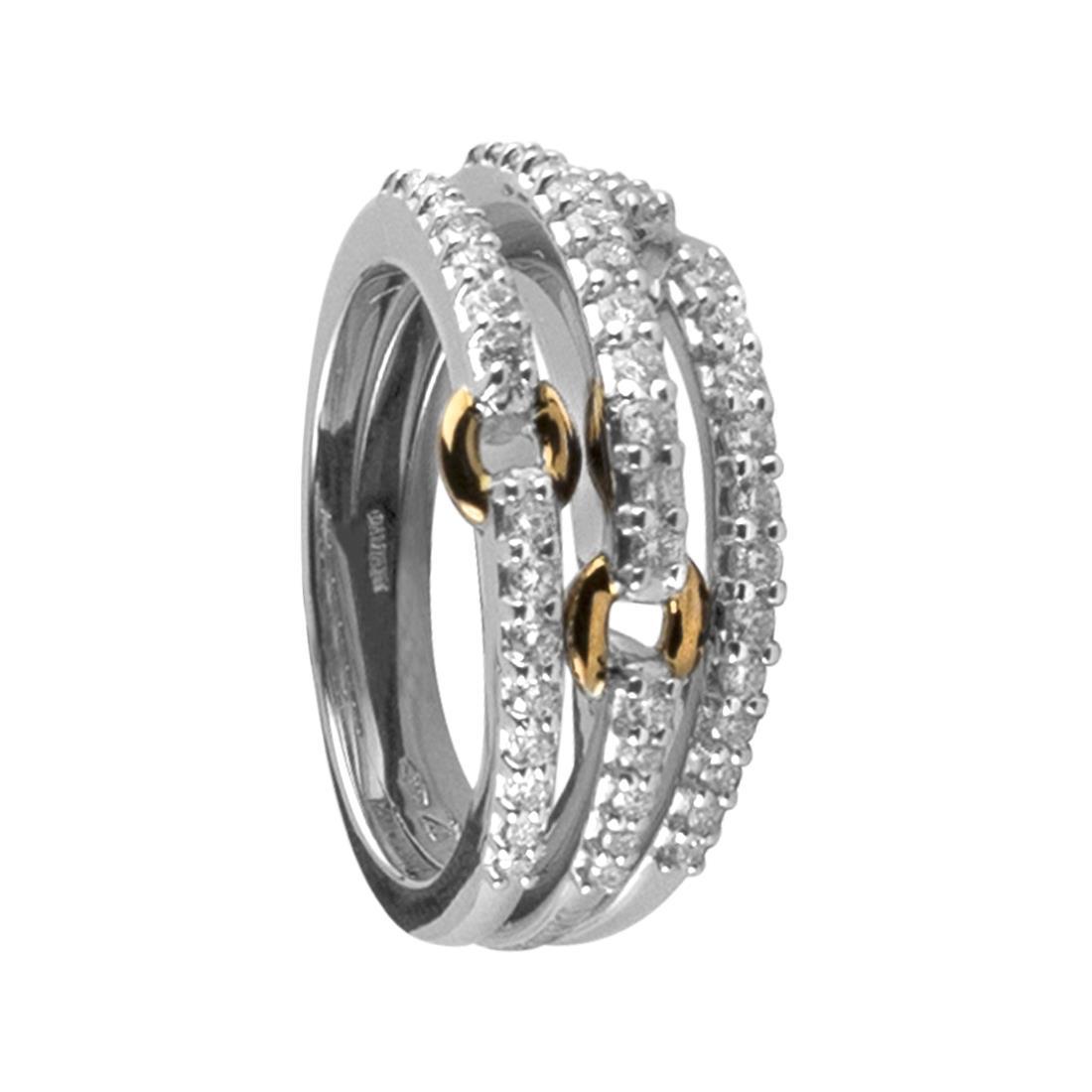 Anello in oro bianco e rosa con diamanti mis 15 - DAMIANI