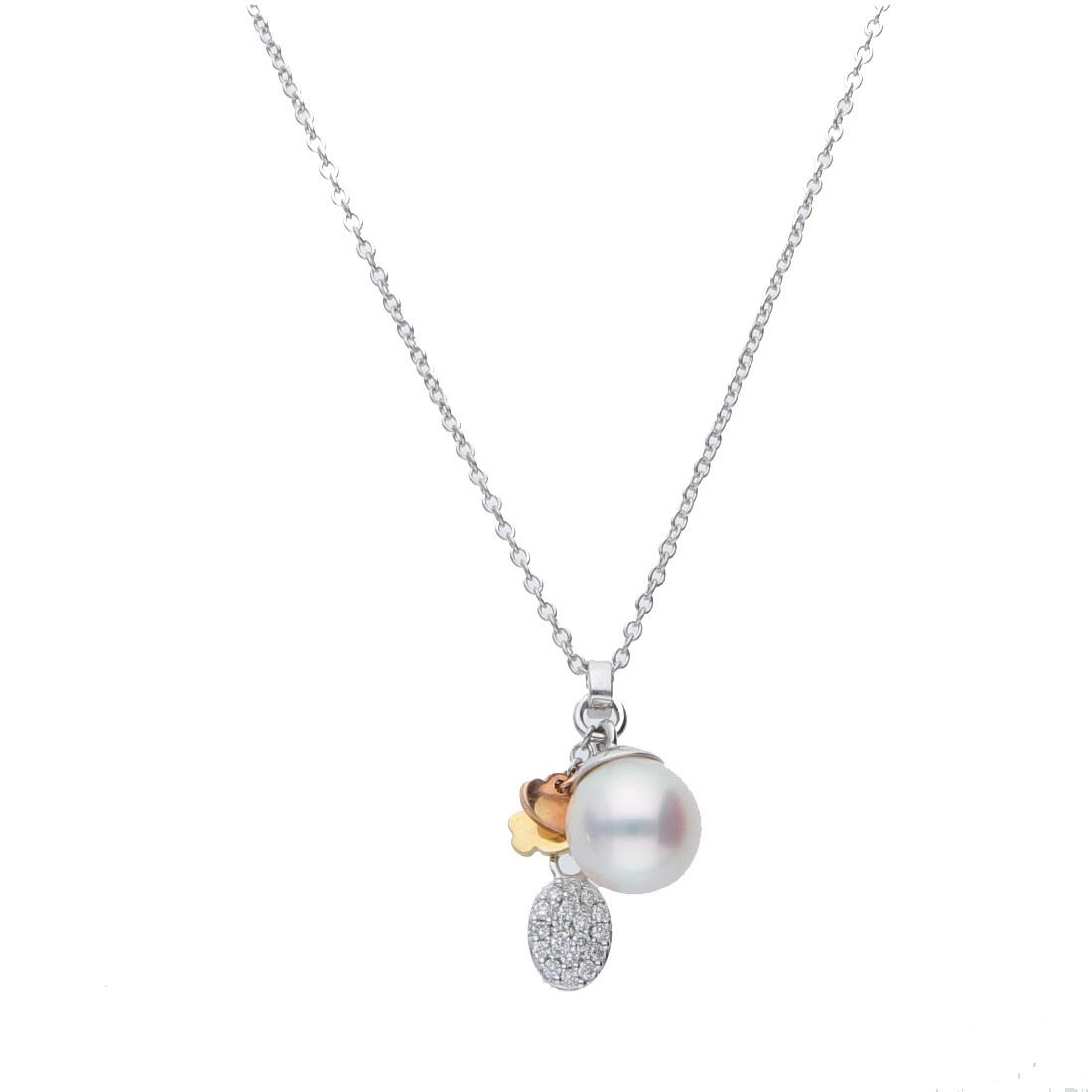 Collana in oro bianco con diamante e perla - SALVINI